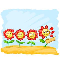 Cartoon flowers in the meadow vector