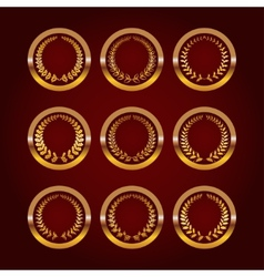 Set of luxury gold labels vector
