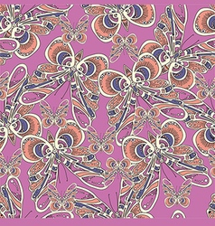 Beautiful pattern with butterflies on a pink vector