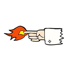Comic cartoon flaming pointing finger symbol vector