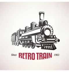 retro train vintage symbol emblem label vector image