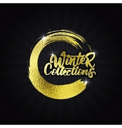 Winter collections gold effect calligraphic header vector