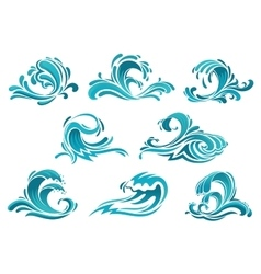 Blue sea waves and surf icons vector