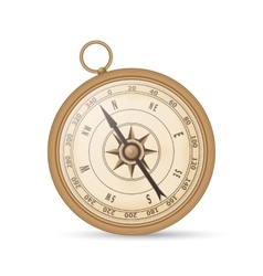 Ancient compass copper color on a white background vector