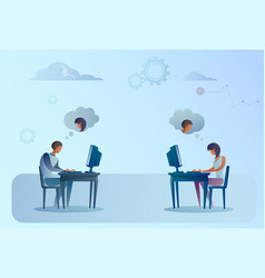 Abstract business man and woman sitting at office vector