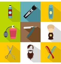 Barbershop icons set flat style vector