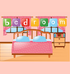 bedroom with bed and other furnitures vector image
