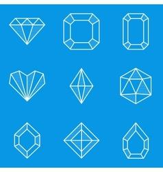 Blueprint icon set diamond vector