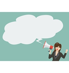 Business woman holding a megaphone with bubble vector image vector image