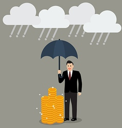 Businessman with umbrella protecting his money vector image