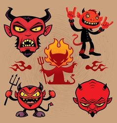 Cartoon Devil Collection vector image