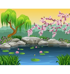 Cartoon of beautiful nature background vector image vector image