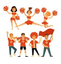 Cheerleaders and sport club cheerleading fans vector