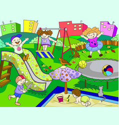 Childrens playground of black vector
