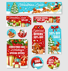 christmas sale tag discount label and shop card vector image