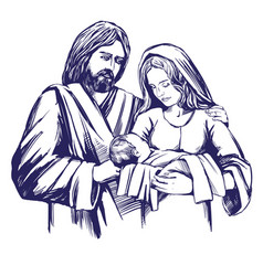 Christmas story mary joseph and the baby jesus vector