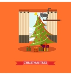 christmas tree and gifts in vector image