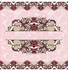 Floral decorative invitation card vintage paisley vector
