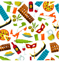 italy seamless pattern italian symbols and vector image