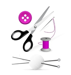 items for knitting and sewing vector image vector image