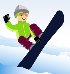 Jumping snowboarder keeps one hand on the board vector image