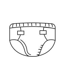 Line baby diaper thet use unterwear vector