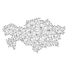 map of kazakhstan from polygonal black lines vector image vector image