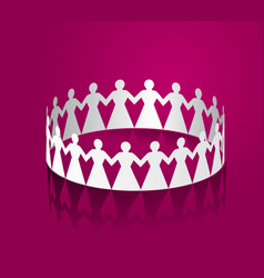 paper women holding hands in the shape of a circle vector image vector image
