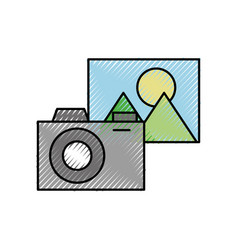 photo camera picture application social media vector image
