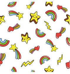 seamless pattern with cute smiling stars doodle vector image vector image