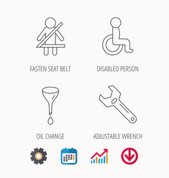 seat belt oil change and wrench tool icons vector image