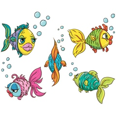 Set of funny fish vector image vector image