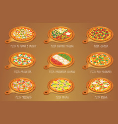 Set of italian pizza on cutting board 9 item vector