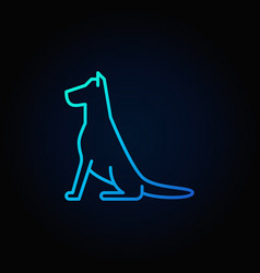 sitting dog line blue icon vector image