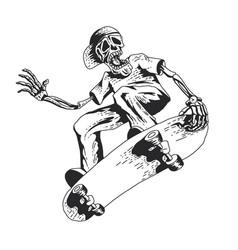Skeleton playing skateboard vector