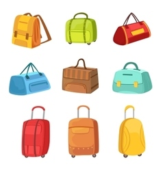 Suitcases and other baggage bags set of icons vector