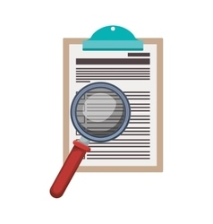 table notepad with sheets and magnifying glass vector image