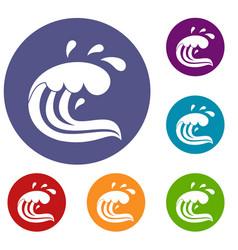 water wave splash icons set vector image vector image