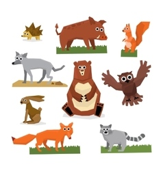 Wild forest animals flat style set vector