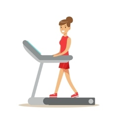 Woman walking on treadmill member of the fitness vector