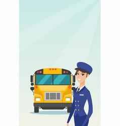 Young caucasian female school bus driver vector