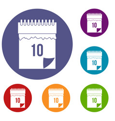 10 date calendar icons set vector image