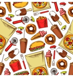 Fast food drinks desserts seamless background vector