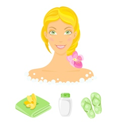 Sauna girl and beauty care icons vector