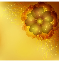 Golden floral invitation or greeting card vector image