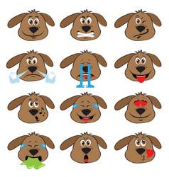 Dog emojis set of emoticons icons isolated vector