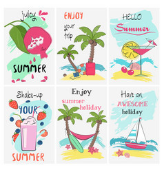 Summer holidays vacation poster set greeting and vector