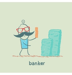 banker and a lot of money vector image