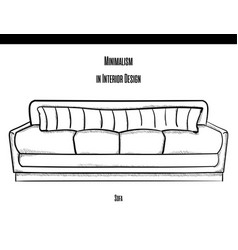 Sofa with a large striped pillow in the contour on vector