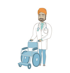 Young indian doctor pushing wheelchair vector